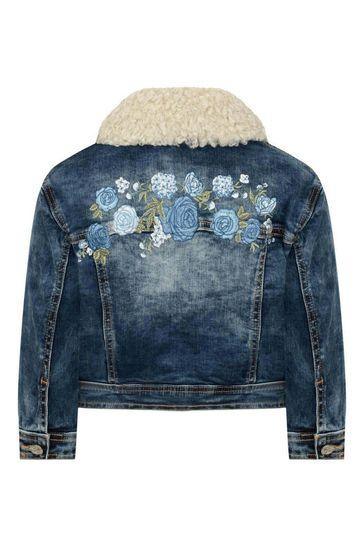 Girls Blue Denim Rose Jacket