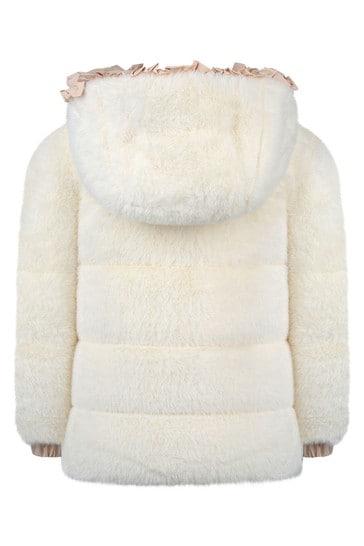 Girls Ivory Faux Fur Jacket