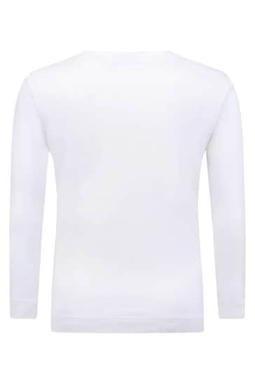 걸스 아이보리 코튼 저지 롱 슬리브 티셔츠