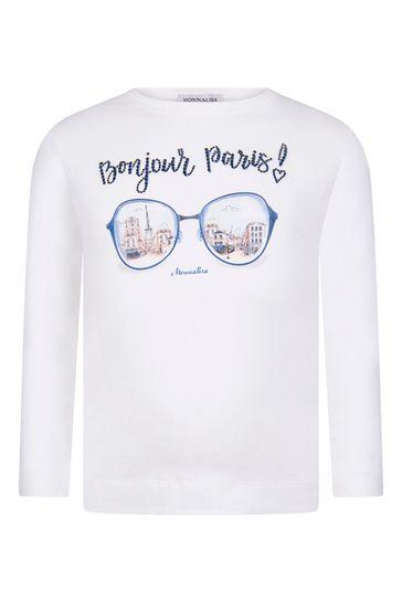 Girls Ivory Cotton Long Sleeve Bonjour Paris! T-Shirt