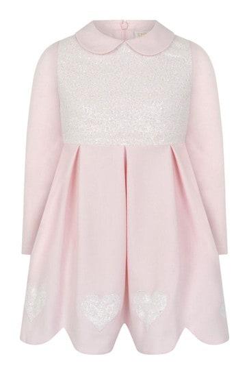 Girls Pink Sequin Hearts Dress
