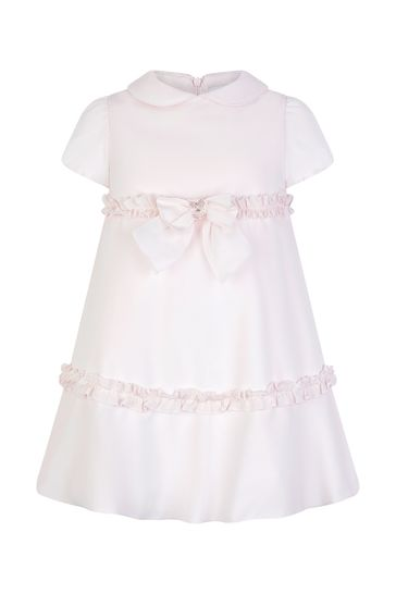 Girls Pink Brushed Cotton Dress