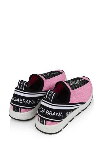 Girls Pink/Black Slip-On Trainers