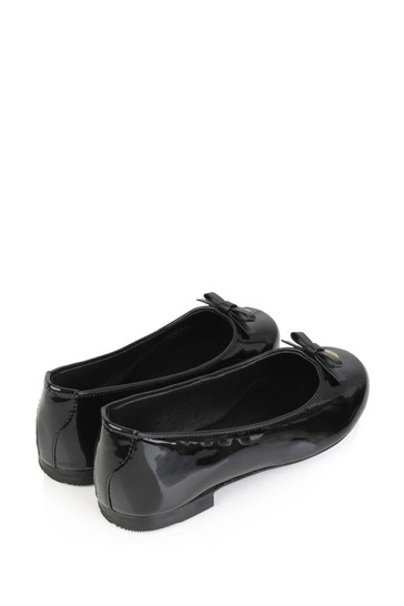 Girls Black Patent Leather Ballerinas