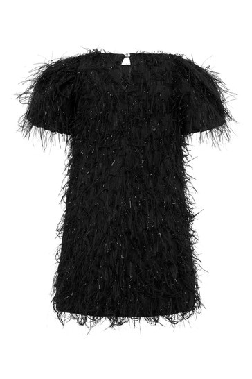 Girls Black Fringed Dress