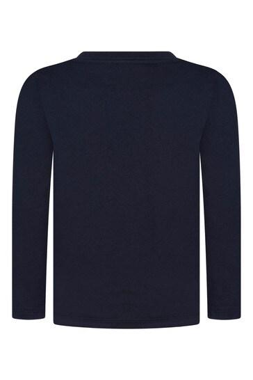 Boys Navy Cotton Wild Animals T-Shirt