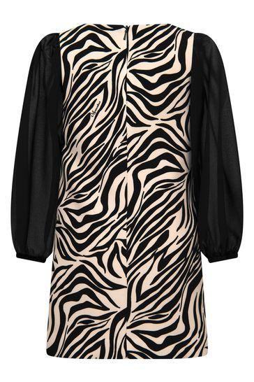 Girls Beige/Black Crepe Zebra Dress