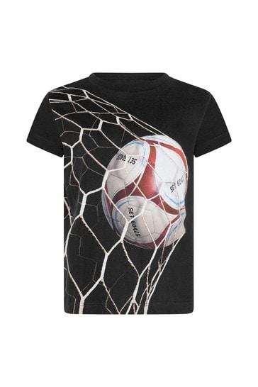 Boys Black Goal Print Organic Cotton T-Shirt