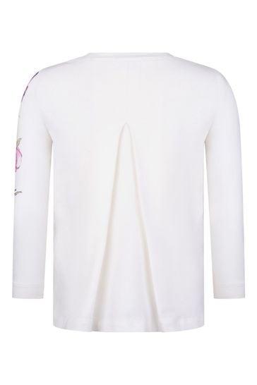 Girls Cream Flower T-Shirt