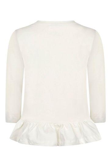 Girls Ivory Olive Oyl Cotton Long Sleeve T-Shirt
