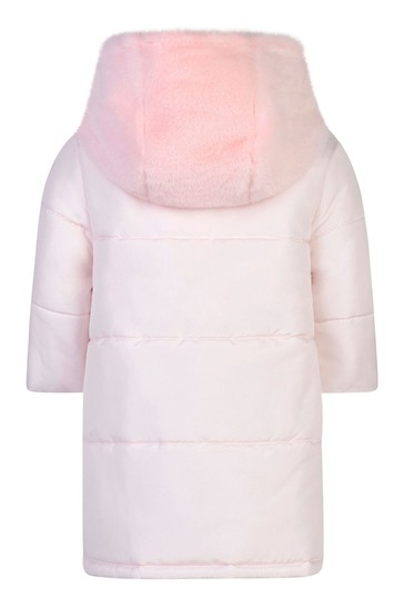 Girls Pink Padded Coat With Faux Fur