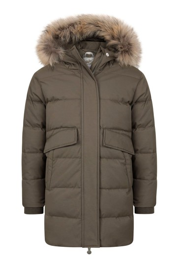 Girls Khaki Water Repellent Grenoble Fur Coat