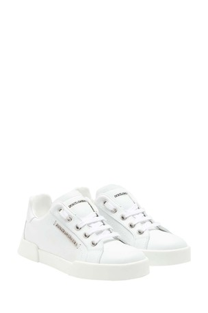 Kids White Leather Lace-Up Trainers
