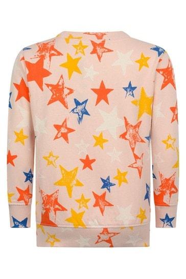 걸스 핑크 오가닉 코튼 스타 스웨터
