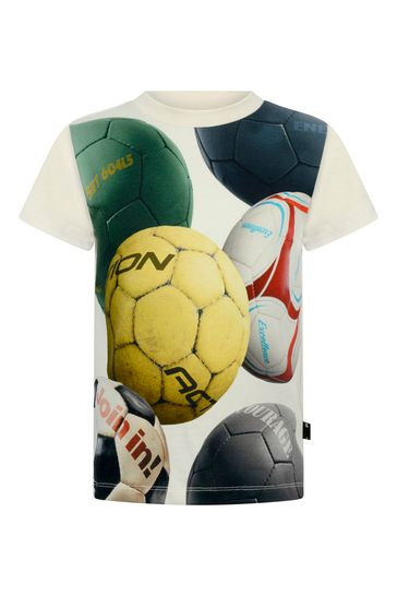 Boys Ivory Soccer Balls Organic Cotton T-Shirt