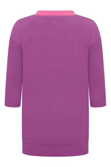 Girls Fuchsia And Purple Cotton Logo Dress