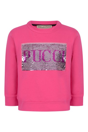 걸스 핑크 코튼 로고 스웨터