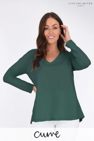 Live Unlimited Curve Emerald Green Long Sleeve Swing T-Shirt