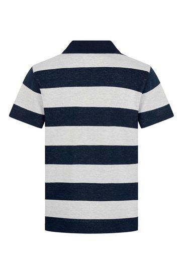 Boys Striped Cotton Polo Top