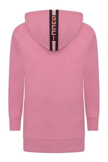 Girls Pink Hooded Sweater Dress