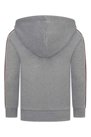 Boys Grey Cotton Zip Up Top