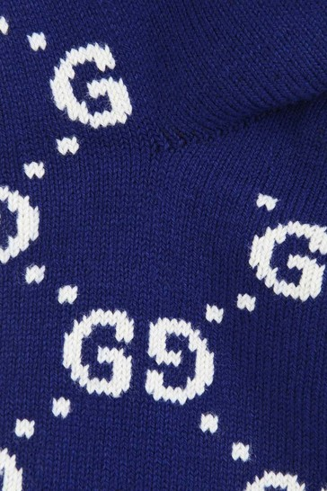 GUCCI Navy Cotton GG Socks