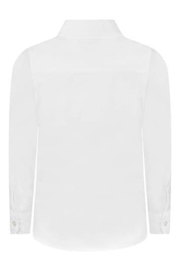 Boys White Embroidered Logo Shirt
