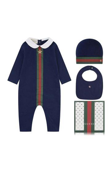 Boys Navy Romper Gift Set (3 Piece)