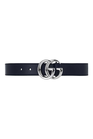Navy Blue Leather Logo Belt