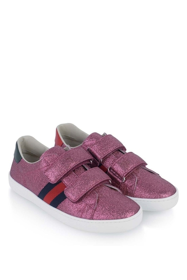 Girls Pink Glitter Velcro Strap Trainers