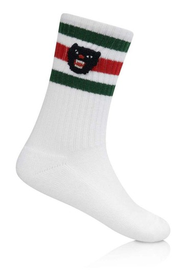 White Cotton Socks With Angry Cat