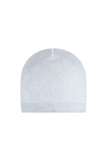 Baby Boys Ivory/Blue GG Wool Hat