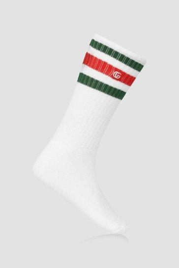 Boys White Cotton Ribbed Socks