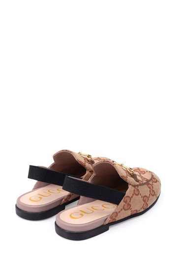 Kids Beige GG Slingback Shoes