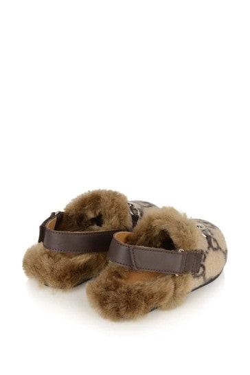 GUCCI Beige GG Faux Fur Slingback Mules