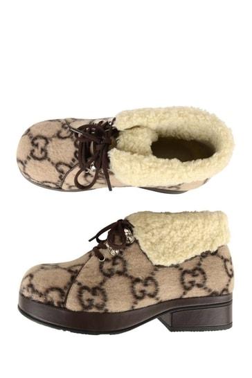 Beige GG Wool Boots