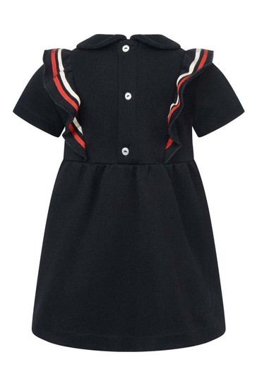 Baby Girls Navy Ruffle Web Bow Dress