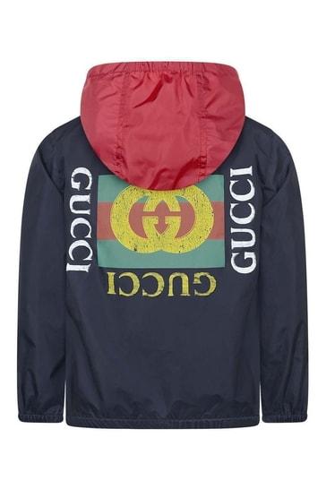 후드가 있는 소년 네이비 라이트급 재킷
