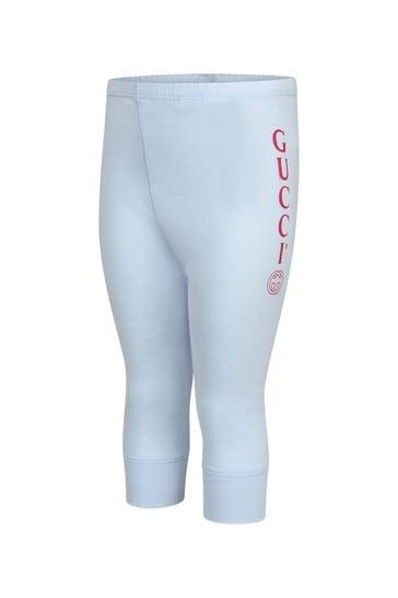 GUCCI Blue Cotton Logo Bottoms