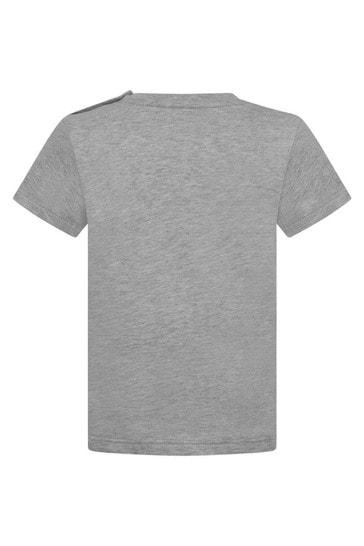 회색 로고 프린트 베이비 탑
