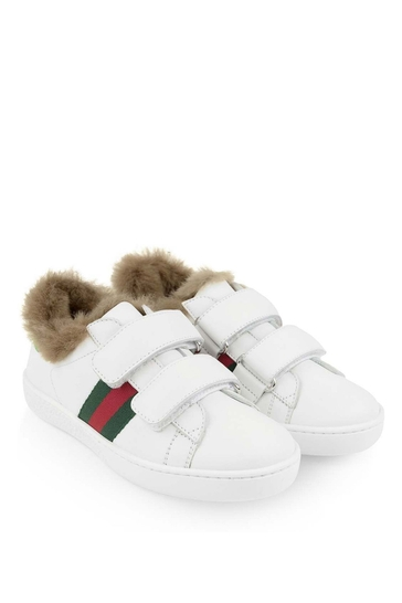 Girls Leather Trainers With Faux Fur