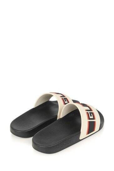 Boys Ivory/Black Rubber Stripe Sliders