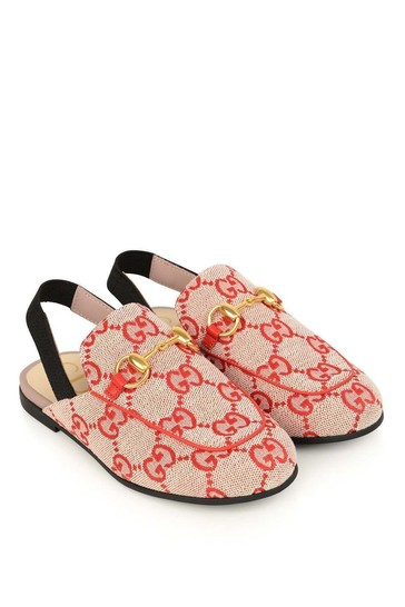 GUCCI Red Princetown GG Canvas Slippers