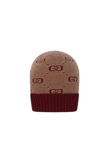 Baby GG Wool & Cotton Burgundy Hat