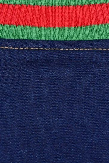 Baby Boys Blue Denim Jersey Bomber Jacket