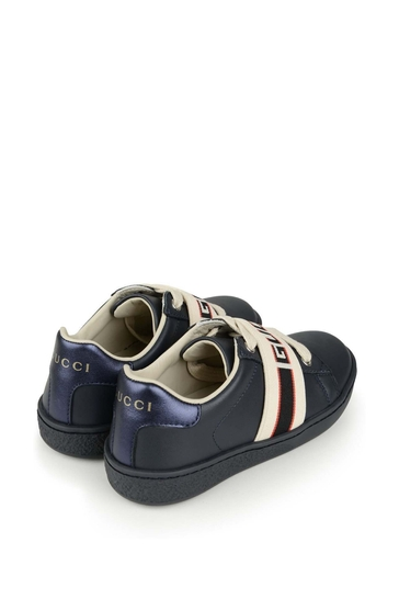 Navy Leather Ace Trainers