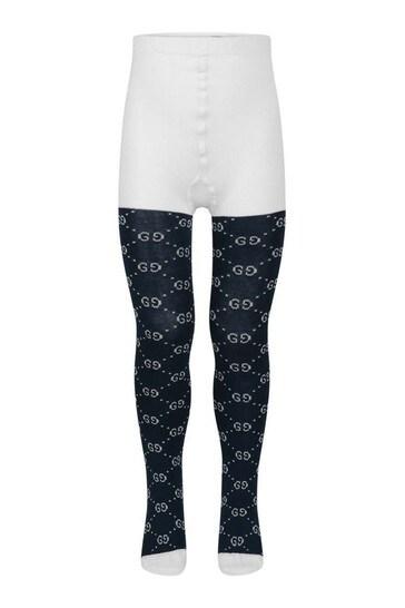 Girls Ivory & Navy GG Cotton Tights