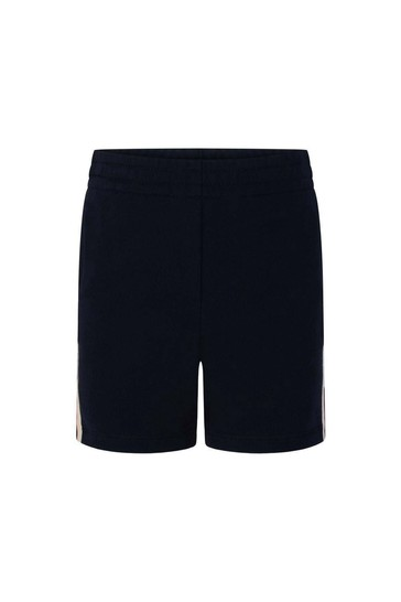 Boys Navy Shorts With Jacquard Trim