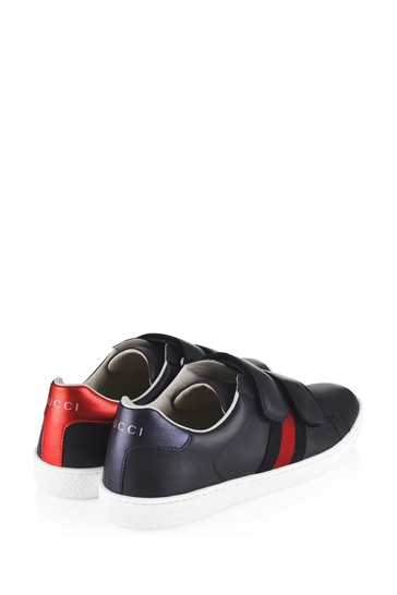 Kids Navy Blue Leather Velcro Strap Trainers