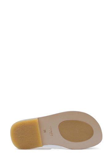 Kids Beige & Brown FF Leather Sandals